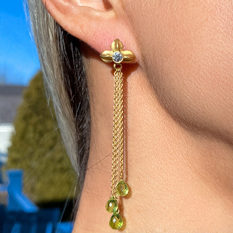 Estate Peridot Briolette & Diamond Earrings sold by Doyle and Doyle an antique and vintage jewelry boutique