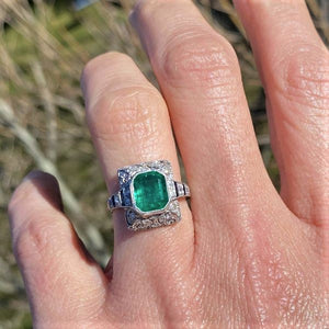 Art Deco Emerald, Diamond & Sapphire Ring sold by Doyle and Doyle an antique and vintage jewelry boutique
