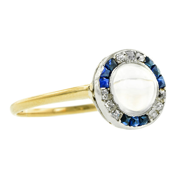 Edwardian Moonstone, Sapphire & Diamond Ring