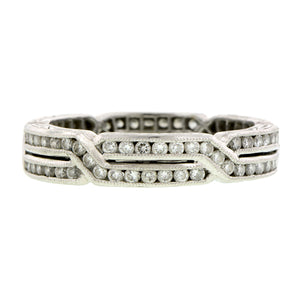 Geometric Crossover Diamond Eternity Band Ring