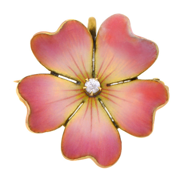Antique Enamel Diamond Flower Pin