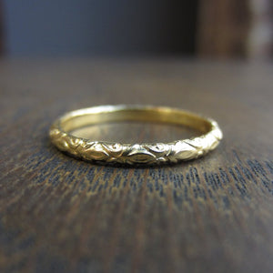 Fleur Patterned Gold Band- Heirloom by Doyle & Doyle Size 6