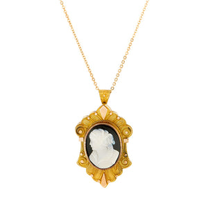 Victorian Banded Agate Cameo Pendant::Doyle & Doyle