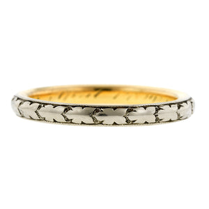 Edwardian Wedding Band with Pattern, sold by Doyle & Doyle an antique and vintage jewelry boutique.