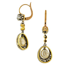 Edwardian Natural Pearl & Diamond Drop Earrings:: Doyle & Doyle