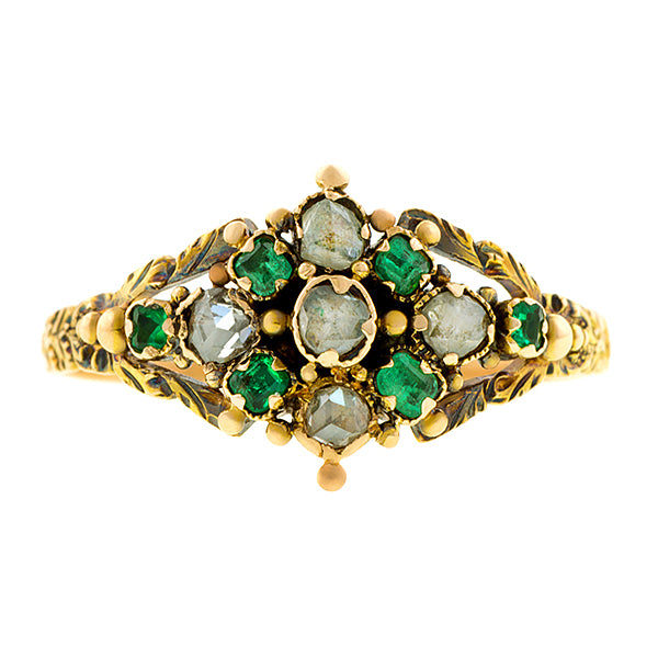 Georgian Diamond & Emerald Ring:: Doyle & Doyle