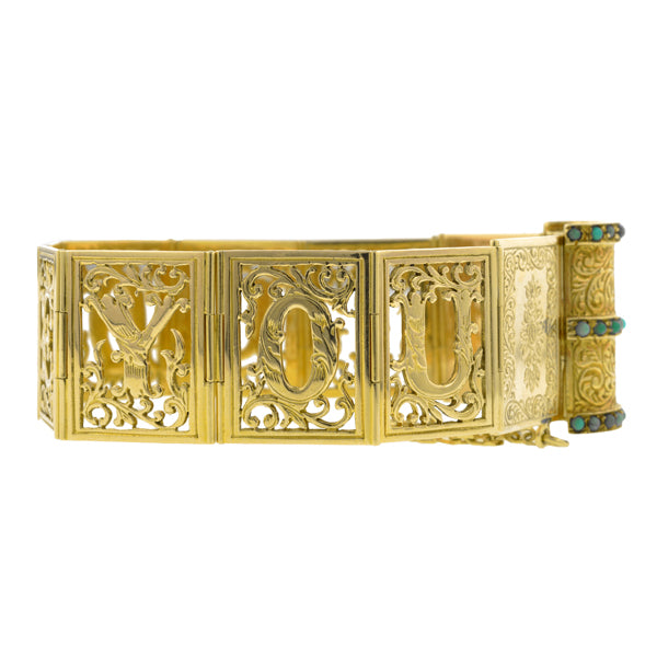 Victorian Style Gold & Turquoise Book Bracelet
