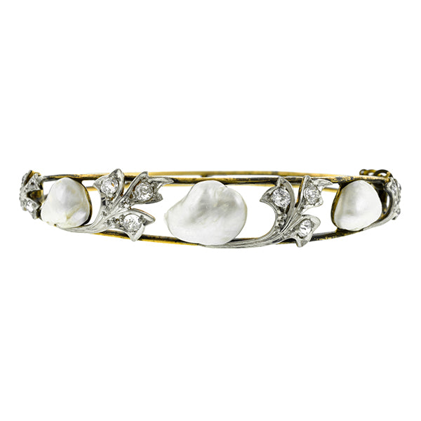 Edwardian Pearl & Diamond Bangle Bracelet:: Doyle & Doyle