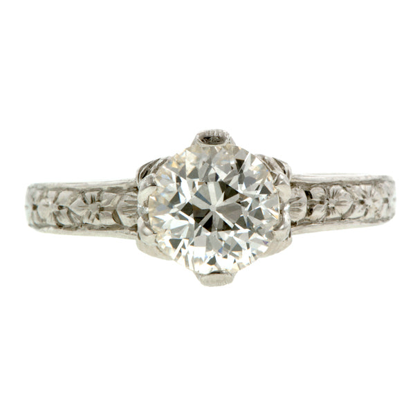 Flower Engagement Ring, Old Euro 1.01ct, Platinum