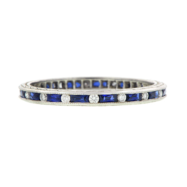 French Cut Baguette Sapphire & Round Diamond Band Platinum :: Doyle & Doyle