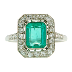 Emerald Diamond Frame Ring::Doyle & Doyle