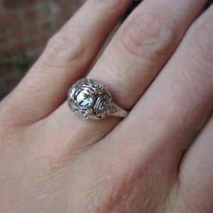 Art Deco Engagement Ring, Rose Cut Diamond 0.39ct., sold by Doyle & Doyle an antique and vintage jewelry store.