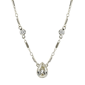 Vintage Diamond Sautoir Necklace, Pear Shape 1.00ct:: Doyle & Doyle