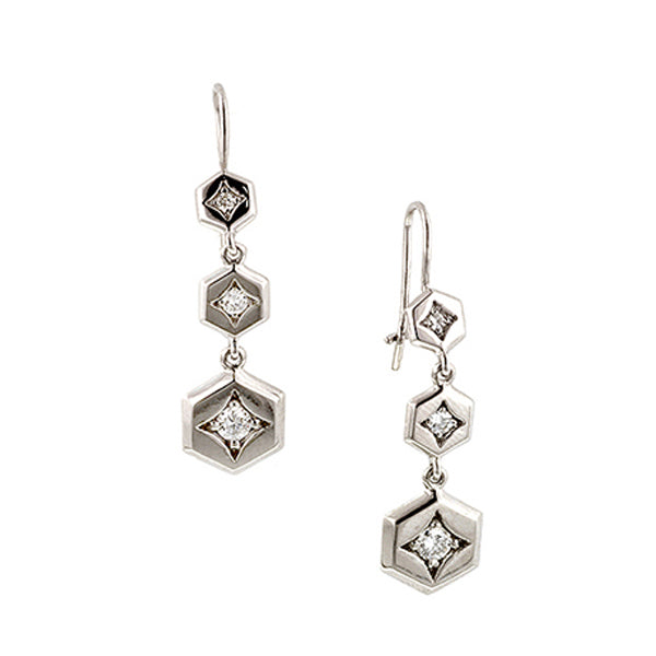 Graduated Hex Diamond Drop Earrings- Heirloom by Doyle & Doyle::