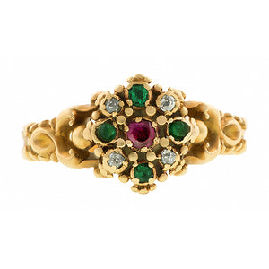 Georgian Ruby, Emerald & Diamond Ring:: Doyle & Doyle