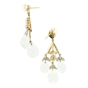 Pearl*, Diamond & Rock Crystal Drop Earrings:: Doyle & Doyle