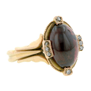 Victorian Cabochon Garnet & Diamond Ring