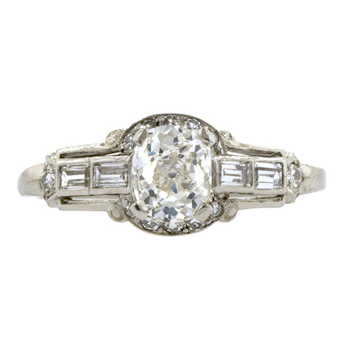 Art Deco Engagement Ring, Cushion cut 1.14ct:: Doyle & Doyle