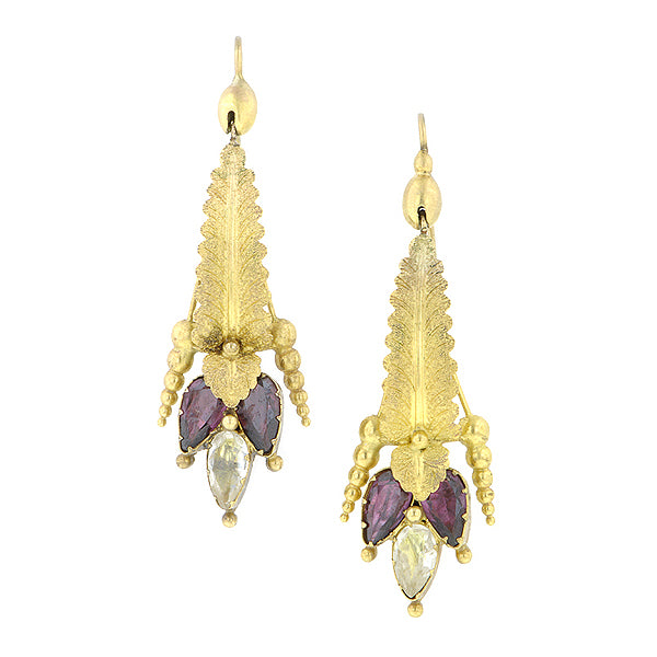 Early Victorian Garnet Drop Earrings