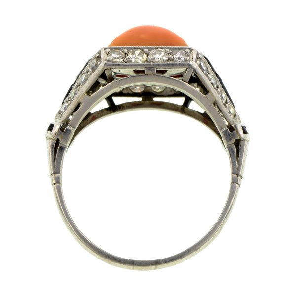 Art Deco Coral, Onyx & Diamond Ring::Doyle & Doyle