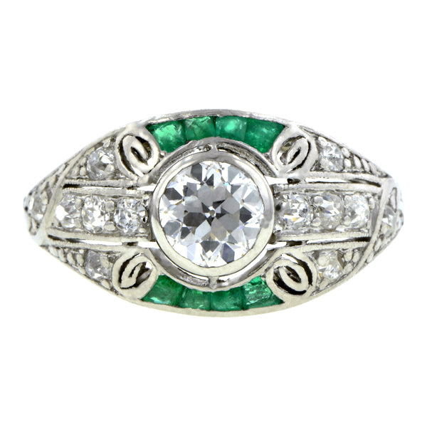 Art Deco Diamond & Emerald* Ring, Old European 0.52ct., sold by Doyle & Doyle an antique and vintage jewelry store.