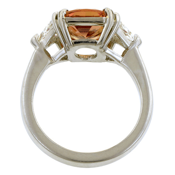 Estate Fancy Orange Sapphire & Diamond Ring