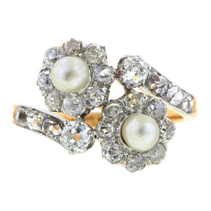 Antique Natural Pearl & Diamond Ring : Doyle & Doyle