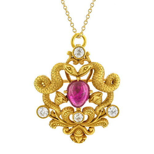 Art Nouveau Egyptian Revival Ruby & Diamond Pendant/ Pin:: Doyle & Doyle