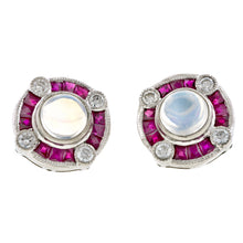 Moonstone, Ruby & Diamond Earrings:: Doyle & Doyle