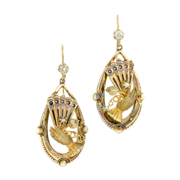 Victorian Glove & Fan Drop Gold Earrings:: Doyle & Doyle