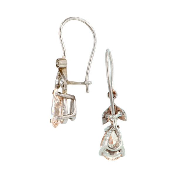 Vintage Pear Drop Diamond Earrings::