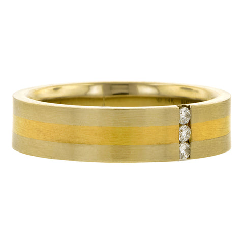 Estate ring: a Yellow Gold Diamond Wedding Band sold by Doyle & Doyle vintage and antique jewelry boutique.