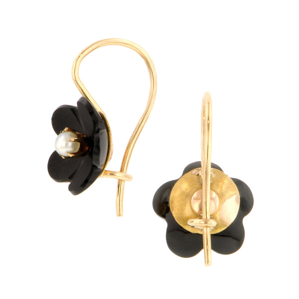 Victorian Pearl & Onyx Flower Earrings Doyle & Doyle