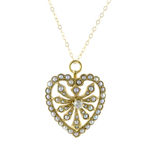 Edwardian Diamond & Split Pearl Pendant
