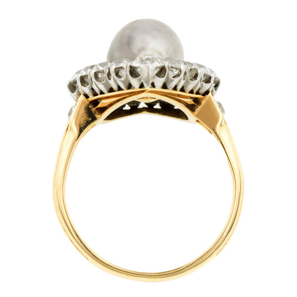 Edwardian Pearl & Diamond Heart Ring