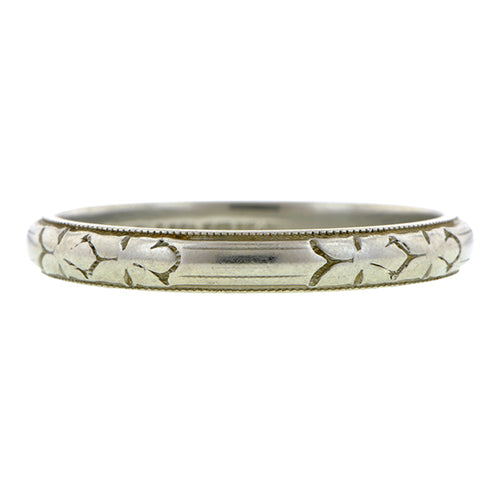 Vintage White Gold Wedding Band Ring