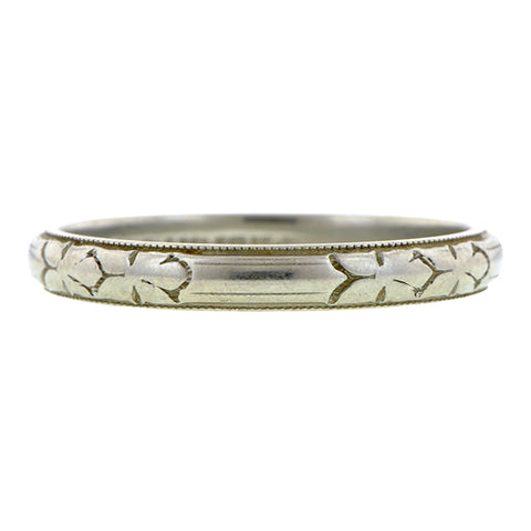 Vintage White Gold Wedding Band Ring sold by Doyle & Doyle vintage and antique jewelry boutique.