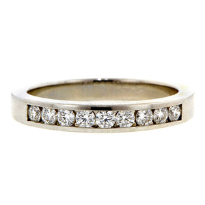 Estate Diamond Wedding Band Ring, Platinum, sold by Doyle & Doyle an antique & vintage jewelry store.