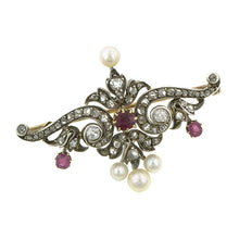 Antique Ruby Diamond & Pearl* Pin: