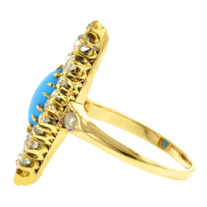 Antique Turquoise & Diamond Ring::Doyle & Doyle