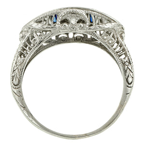 Vintage ring: a White Gold Filigree Diamond and Sapphire Engagement Ring sold by Doyle & Doyle vintage and antique jewelry boutique.