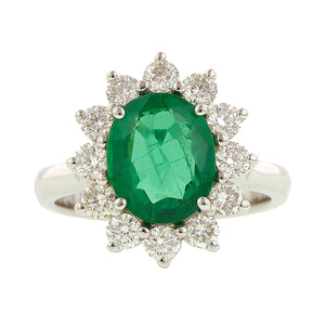 Emerald & Diamond Frame Ring::Doyle & Doyle