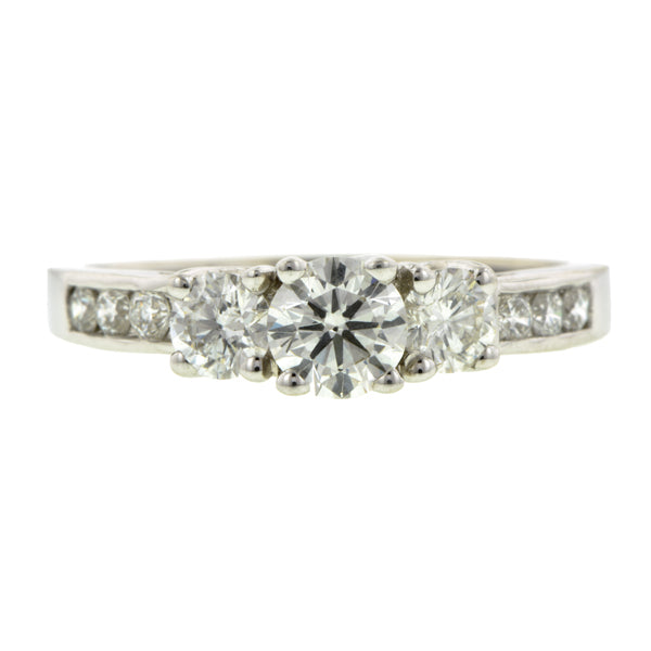 Three Stone Diamond Engagement Ring, RBC 0.40ct