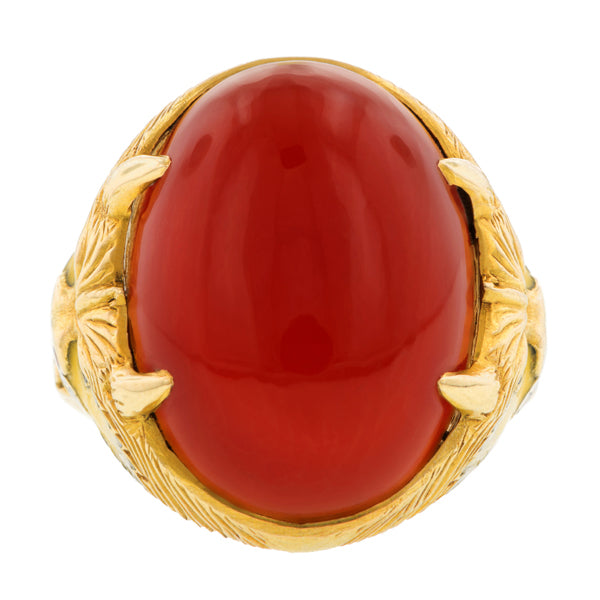 Art Deco Carnelian Enamel Dragon Ring