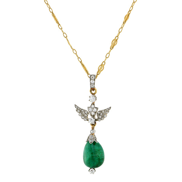 Emerald & Diamond Wing Necklace:: Doyle & Doyle