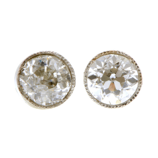 Vintage Bezel Set Diamond Stud Earrings, 1.00ctw:: Doyle & Doyle