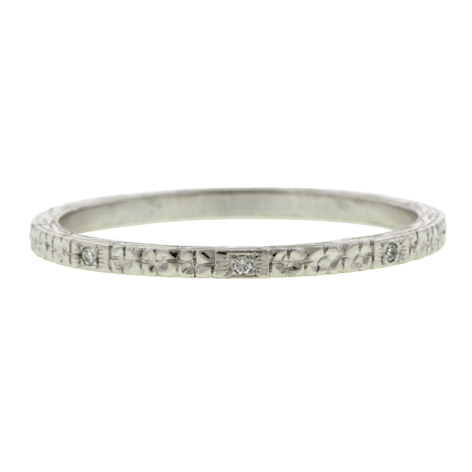 Engraved Platinum Diamond  Wedding Band Ring
