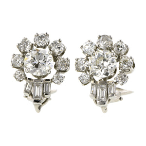 Vintage Diamond Clip Earrings