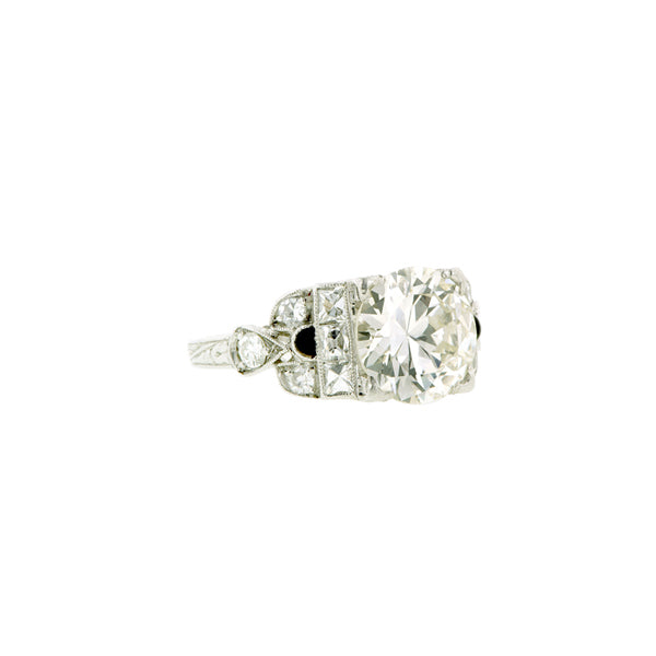 Art Deco TRB 2.10ct Platinum Engagement Ring:: Doyle & Doyle