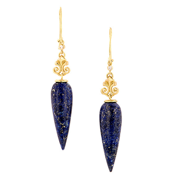 Lapis & Diamond Drop Earrings- Doyle & Doyle::